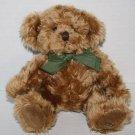 "Bombay Stuffed Animal Plush DEXTER Teddy BEAR 8"" 1999 Brown Green Bow Soft Toy"