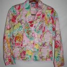 Notches Petite MEDIUM Cropped Jacket Pink Floral Flowers Career Casual Pockets