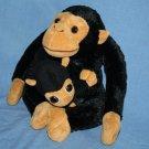 """MAMA & Baby Chimp Chimpanzee MONKEY 12"""" Black Plush Stuffed Soft Toy RI Novelty"""