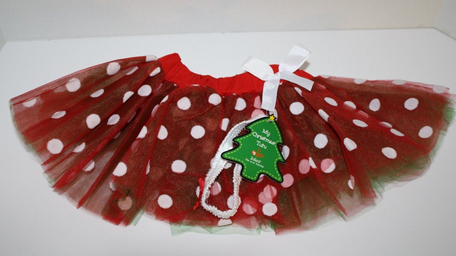 Christmas Baby Girls 12-24 Months TUTU Polka Dot Red White Skirt Halloween