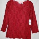 Kim Rogers Petite MEDIUM PM Top Pullover Shirt Red Burgundy Black Tipped Ruffle