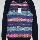 Chaps Misses MEDIUM Cotton Pullover Sweater Navy Blue Multicolored Raglan Sleeve