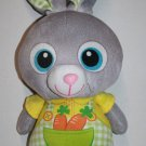"Gray Plush EASTER BUNNY RABBIT 11"" Soft Toy Big Blue Eye Carrot Overalls Stuffed"
