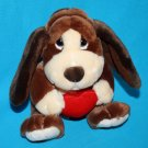 "Russ BAXTER Bashful BASSET HOUND DOG 8"" Valentine Red Heart Plush Stuffed 39304"