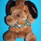"""Dan Dee MTY Intl DOG 9"""" Brown Plush Green Sweater Soft Toy Tags Stuffed Animal"""