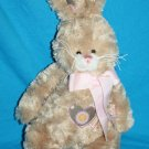 Ganz PATCHES BUNNY RABBIT Brown Plush HE9687 Pink Hearts Bow Striped Flower Ears