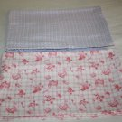 Girls Soft Cotton Flannel BABY BLANKETS Pink Blue Plaid Carriage Handmade Set 2