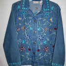 Kim Rogers Petite MEDIUM PM Denim Blue Jean Jacket Cotton Floral Embroidered
