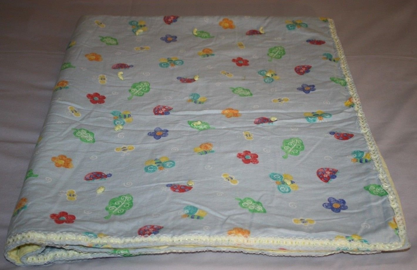Handmade Tied Quilt BABY Girls Blanket Butterfly Bee FLOWER Cotton Ribbon Edge