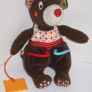 """Soft Toy MOUSE Stuffed Animal CHEESE TEETHER 12"""" Brown Plush Teddy Bear Pockets"""