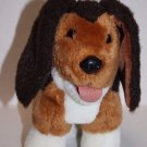"""Heartline Stuffed PLUSH DOG 9"""" Stands Soft Toy Vtg 1987 Brown White TONGUE OUT"""