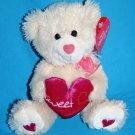 "New Valentine Walmart TEDDY BEAR 6"" SWEET HEART Soft Toy Beige Plush Stuffed"