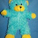 """Kellytoy Aqua Blue TEDDY BEAR 14"""" Yellow Ears Feet Plush Soft Toy Stuffed Animal"""