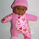 """Positively Adorable BABY DOLL 12"""" Angela Toy Dark Skin Ethnic Rattle Pink Hat"""