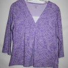 Croft & Barrow Petite MEDIUM PM Top Purple Paisley Pullover V Neck 100% Cotton