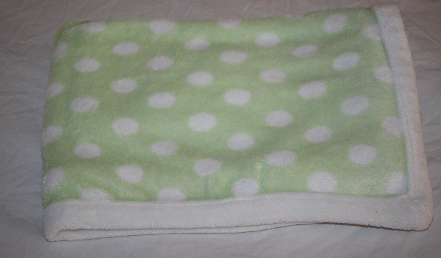 Blankets and Beyond BABY BLANKET Green & White Polka Dots Trim Edge Soft Plush