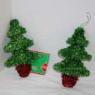 """Set of 2 Tinsel CHRISTMAS House TREE 6"""" Hanging Ornaments New Red Green Holiday"""