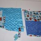Set of 2 Security Blanket Burp Cloth Trucks Vehicles Blue Minky Dots Handmade