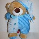 Linzy Toys TEDDY BEAR Rattle Blue Plush Stuffed Stars Stripes Polka Dot Soft Toy