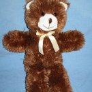 """A Mart Dark Brown TEDDY BEAR 16"""" Ivory Plush Soft Toy Stuffed Animal Cream Bow"""