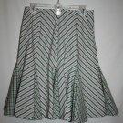 Ralph Lauren Misses 10 Diagonal Striped Skirt Kick Pleat Ruffle Pink Green White