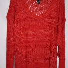 Ashley Stewart WOMAN PLUS 22/24 Sweater Open Weave 3/4 Sleeve Orange Scoop Neck