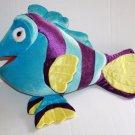 "Blue Plush TROPICAL FISH Big 19"" Purple Striped Stuffed Animal Soft Toy Pink Eye"