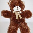 """A Mart Dark Brown Plush TEDDY BEAR 16"""" LONG LEGS Stuffed Soft Toy Animal Bow"""