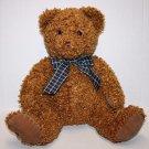 """Princess Soft Toy CURLY Plush Stuffed TEDDY BEAR CHESTNUT 16"""" Plaid Bow Sits 13"""""""