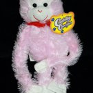 "Greenbrier Intl Cuddly Cousins Ape Pink Plush MONKEY 12"" Red Bow Soft Stuffed"