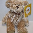 "Circo Small TEDDY BEAR 9"" Gold Bow Beige Tan Plush Stuffed Animal Sits 6"" Target"
