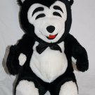"""BRUNO BEAR 14"""" Black White Plush Soft Toy Red Mouth Bow Tie Stuffed Animal 1991"""