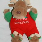 Carters My First Christmas Reindeer Rattle Plush Stuffed Animal Soft Toy No Eyes