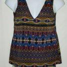 Zouk Zouk: Misses LARGE Tank Top Aztec Ethnic Print V-Neck Back Sleeveless Shirt