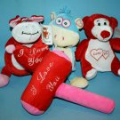 Plush Appeal Stuffed Animal Cow Monkey Bear Valentines Soft Toy Mardi Gras Lot 3