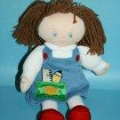 """Baby GUND Tora Doll 10"""" School Girl Blue Dress Plush Soft Toy 58645 Stuffed Yarn"""