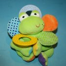 """Infantino FROG 7"""" Rattle TEETHER Mirror Hanging Soft Baby Toy Plush Crinkle 2008"""