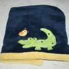 Tiddliwinks ALLIGATOR BIRD Navy Blue Baby Blanket Yellow Trim Edge Soft Target