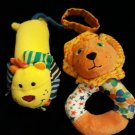 Infantino Infant BABY SOFT TOY LOT Boy Girl 2 Lion Rattle Plush Wrist Hand Ankle