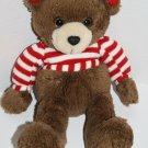 "The Plush Factory Teddy BEAR 12"" Red Stripe Shirt Heart Feet Ears Stuffed Toy"