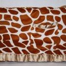 Babe Luxe GIRAFFE Baby Blanket Animal Print Cream Brown Pocket Satin Trim Sherpa