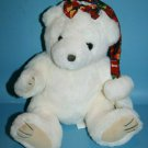 "Royal Plush Toys Teddy Bear 12"" Christmas Cap Bow White Stuffed Soft Felt Pads"