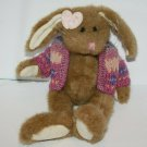 """Boyds Bears EASTER BUNNY RABBIT 10"""" Purple Pink Bow Sweater Jointed Plush Doll"""