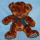 """Russ Berrie BRIXTON BEAR 9"""" Brown Plush Blue Bow Plaid Ears Feet Soft Toy 38710"""