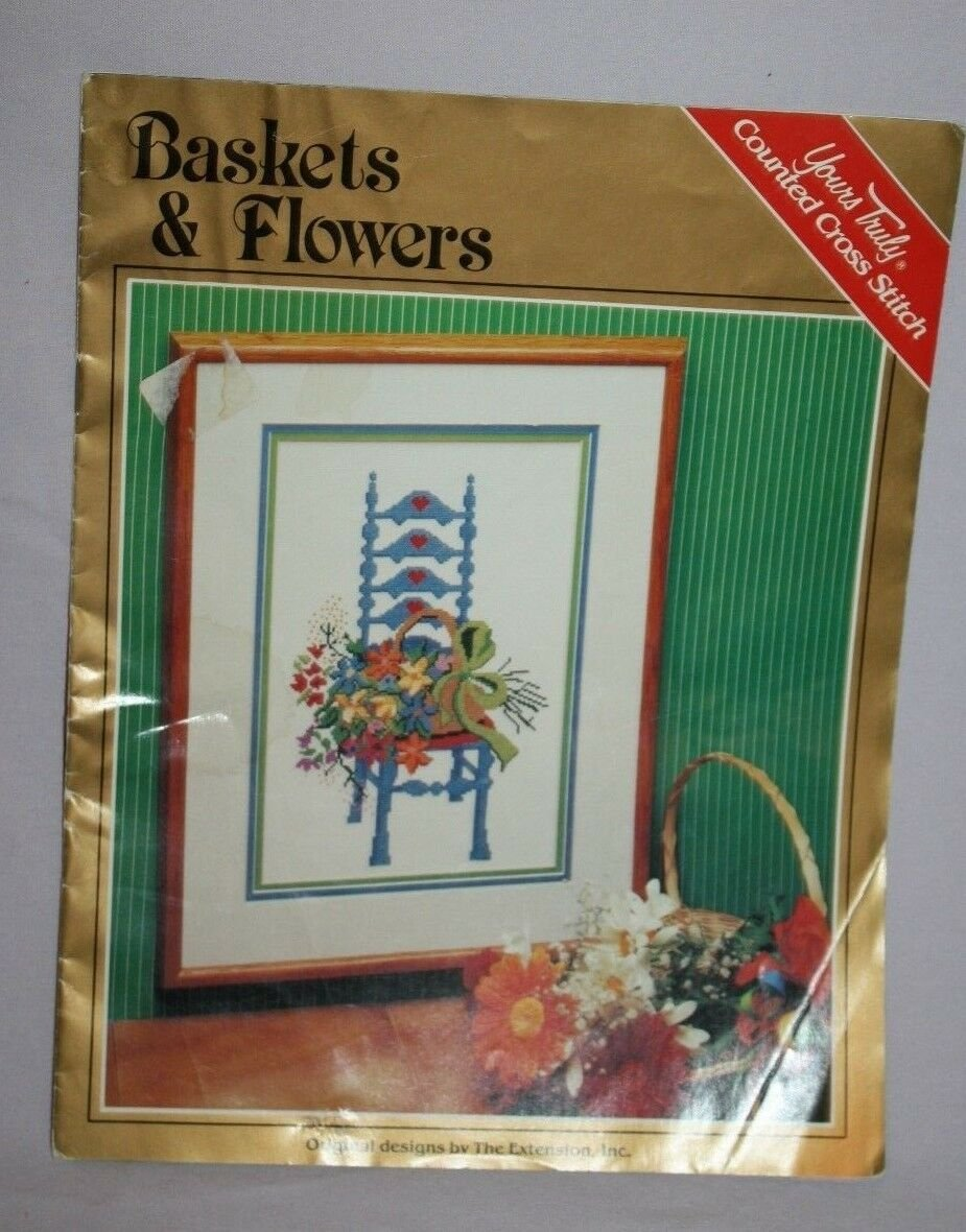 Yours Truly 6101 BASKETS & FLOWERS Cross Stitch Patterns 1982 The Extension Inc
