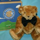 Vermont TEDDY BEAR Plush Black Velvet Bow Tie Jointed Original Box New W out Tag