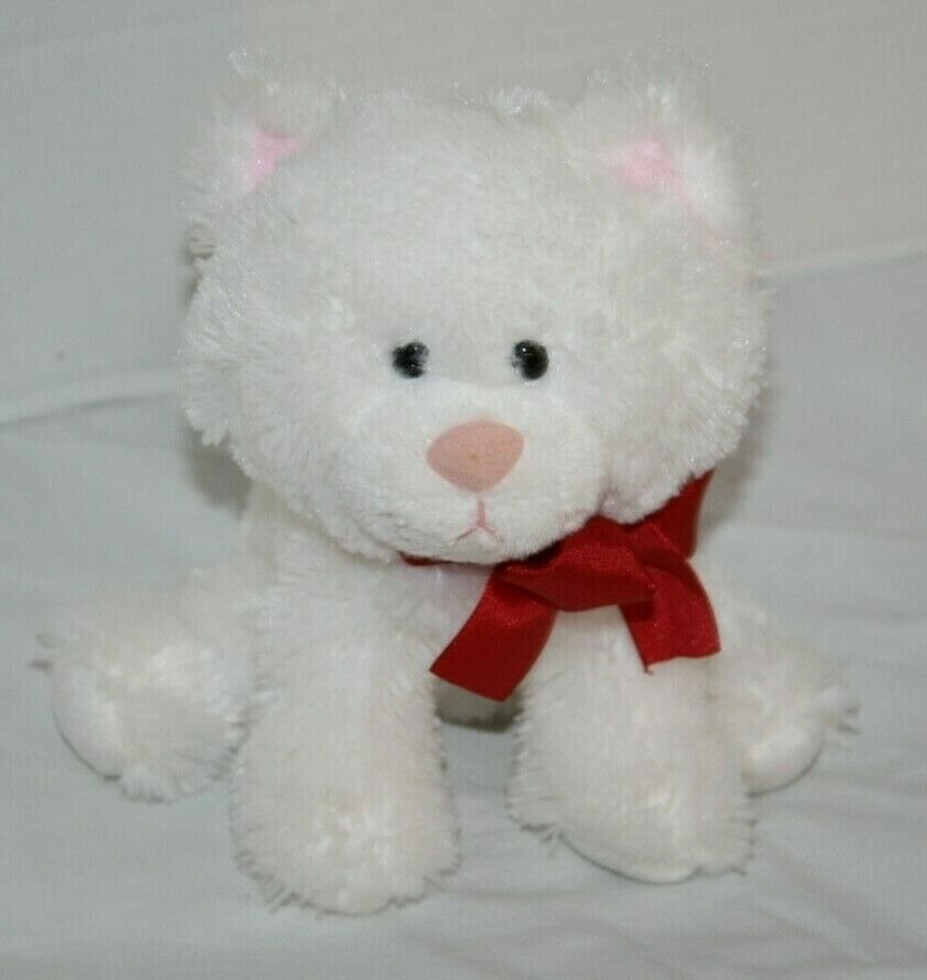 "Russ Kitty Cat Sits 7"" White Plush Kitten Red Neck Bow Stuffed Soft Toy Bean Bag"