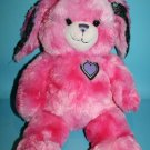 """Build A Bear Easter Bunny Rabbit 17"""" HOT PINK Plush Friends Forever Peace Heart"""