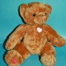 "Cherished Teddies Teddy Bear 8"" Brown Plush Soft Toy Stuffed Animal Hearts 2003"