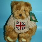 "Harrods Teddy Bear 10"" Soft Toy Union Jack Flag Sweater Brown Plush Stuffed NEW"